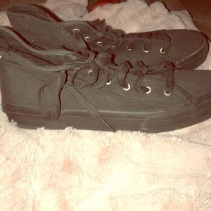 Black womens high top canvas keds